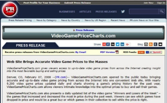 1st online video game pricing guide launched, VideoGame PriceCharts
